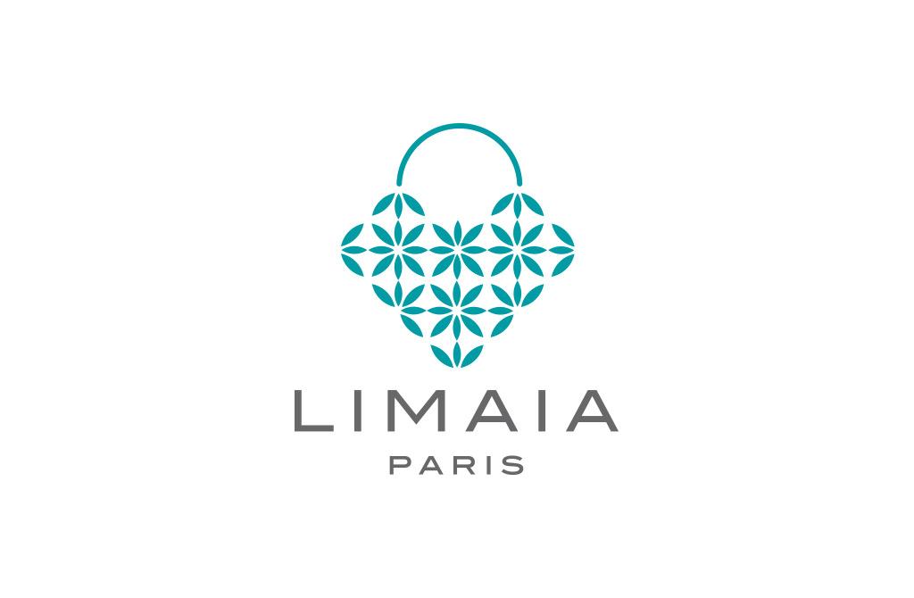 Логотип Limaia. Модный бутик в Париже. Дизайнерские пляжные сумки и шляпы из ротанга